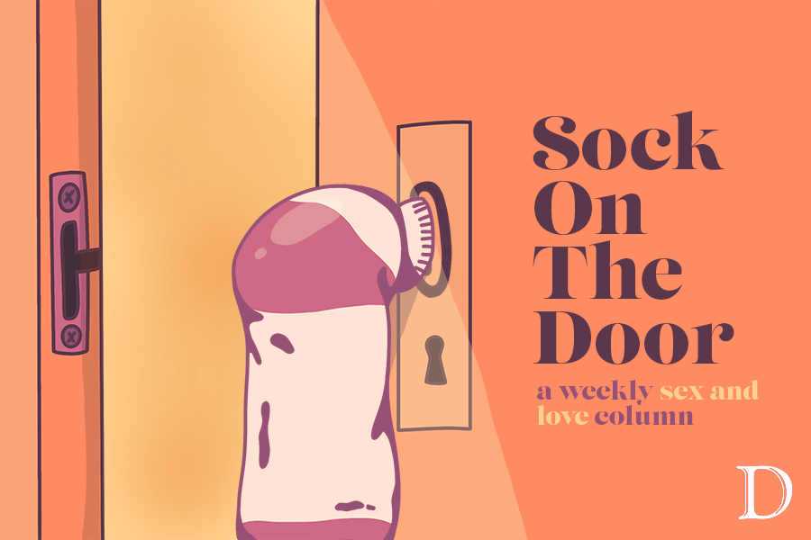 "A sock hangs from a doorknob. Text reads, ""Sock on the Door: a weekly sex and love column."""