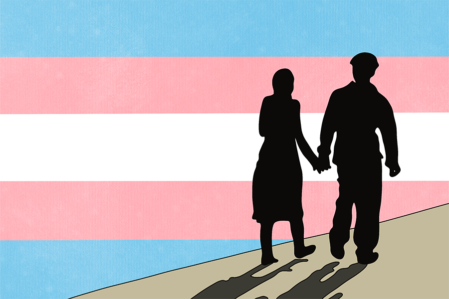 Two silhouetted figures hold hands and walk. Behind them is the trans flag.