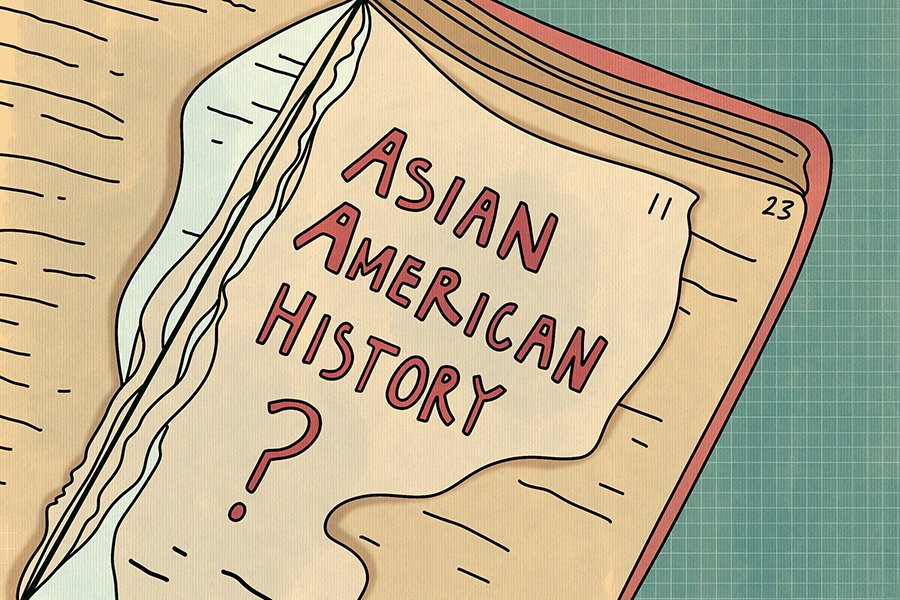 """The right side of an open book with light brown pages. Some of the pages are ripped. The top most page says """"Asian American History?"""" and the background is turquoise."""