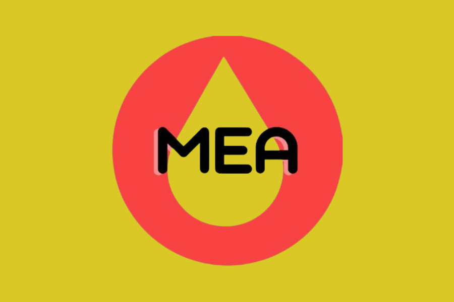 """A circle sits against a yellow background, with a water drop shape. On top of it are the acronyms """"MEA."""""""