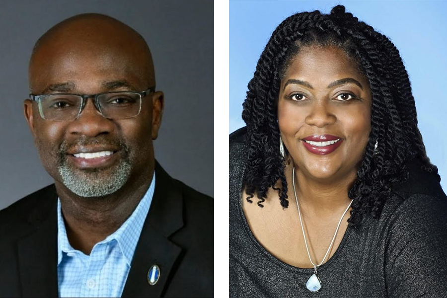 A split-screen photo of two headshots. One is of Peter Braithwaite, on the left, wearing a dark suit and blue checked shirt against a gray background, and the other is of Darlene Cannon, wearing a dark gray shirt and silver necklace with a light blue stone against a light blue background.