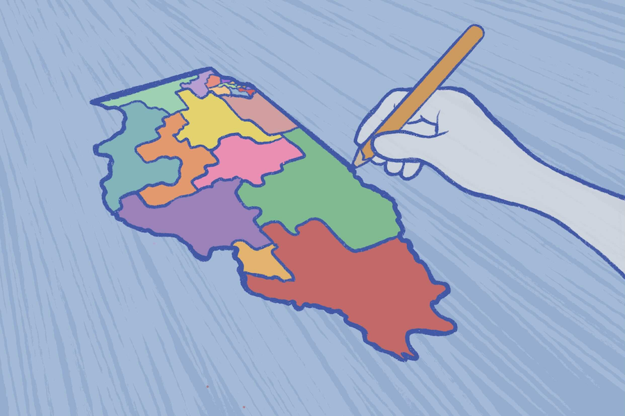 Illustration of a hand drawing different colored legislatures on the Illinois map. The background is light blue.