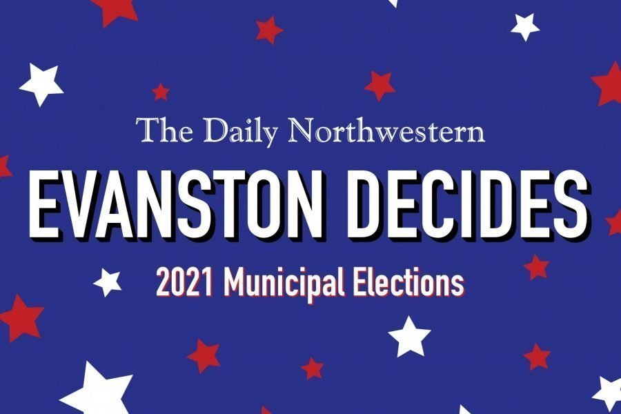 "White text on a blue background with white and red stars. The text reads ""Evanston Decides, 2021 Municipal Elections."""