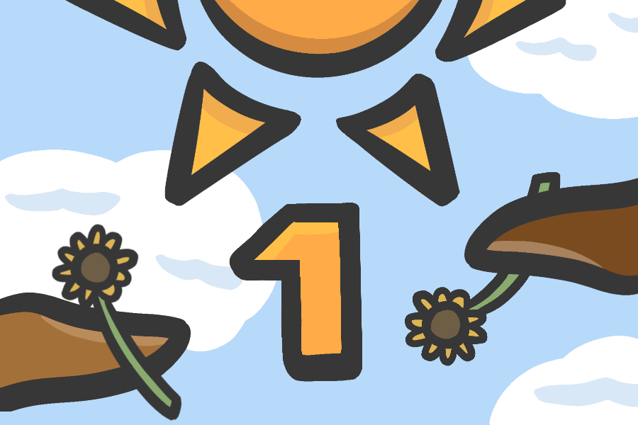 An illustration of a sky with the sun, the number one and two hands holding sunflowers.