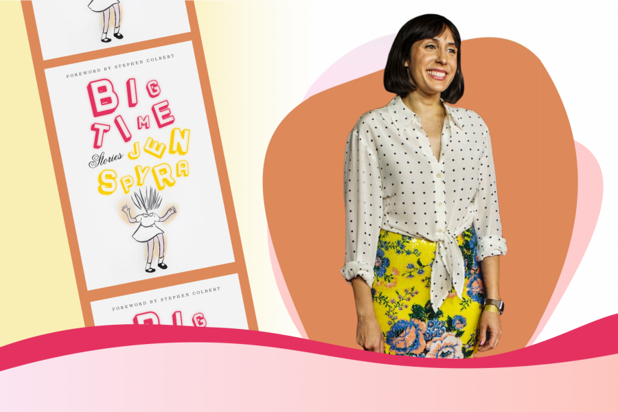 "Jen Spyra is featured on the right side of the image wearing a white and blue polka dot top and yellow floral skirt. To her left is a copy of her debut novel, ""Big Time."" The novel's cover features a small girl with the words ""Big Time"" in bright red and yellow fonts respectively."