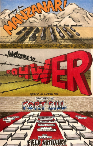 Three postcards prints are laid out vertically, showcasing three cities: Manzanar, Rohwer and Fort Sill.