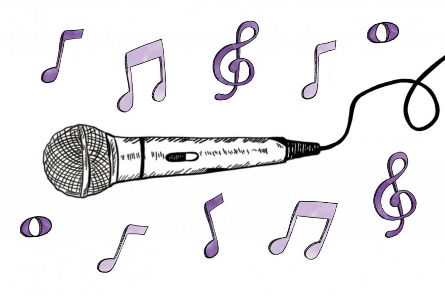 A sideways microphone with a wire is in the center. Surrounding the mic are purple musical notes.