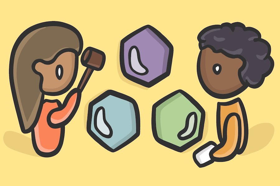 An illustration of two cartoon-like students. One student has long brown hair and wears a long-sleeve red shirt while holding up a dark brown gavel. The other student has short, curly black hair and wears a long-sleeve orange shirt while holding a paper. Between the two students are three hexagons that are purple, green and light blue. The background of the graphic is yellow.