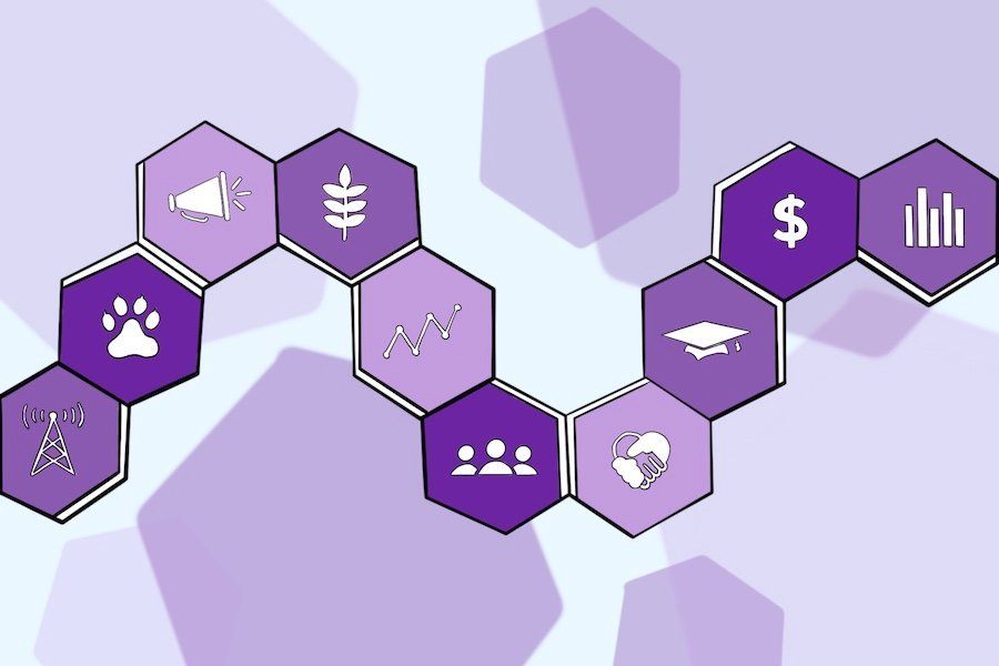 There are ten purple hexagons connected against a purple background with purple hexagonal shadows. Each hexagonal tile has symbols related to Associated Student Government committees.