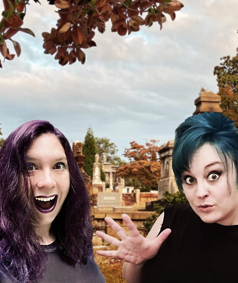 Becky Kilimnik and Diana Doty stand in front of a cemetery background. Kilimnik, with purple hair, is on the left and Doty, with blue hair, is on the right.