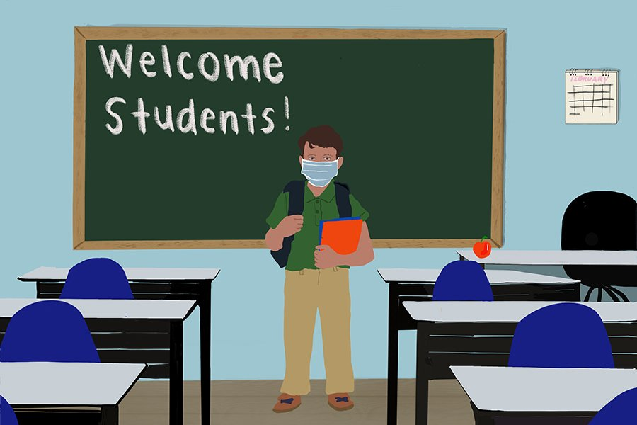 """A person carrying a backpack stands amid desks and in front of a green chalkboard that says """"Welcome Students!"""" in white."""