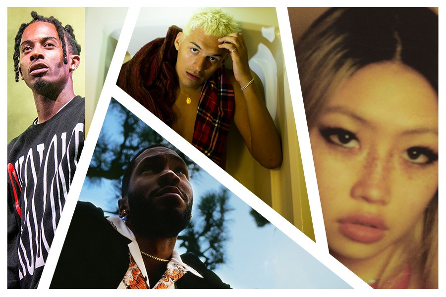 A graphic of the artists performing at Dillo Day 2021 split into four triangular and rectangular sections. From the far left, the first image depicts Playboi Carti wearing a black shirt behind a green background as he stares into the distance. The next upper image is of Omar Apollo wearing a red sleeveless top sitting in a bathtub with his hand on his blonde hair staring up at the camera. Below Apollo is an image of KAYTRANADA looking up behind a background of a blue sky and trees as he wears a white collared print shirt, a black jacket and a gold chain. The final image to the far right is a close up of Beabadoobee staring directly into the camera. She has blonde hair and freckles on her nose.