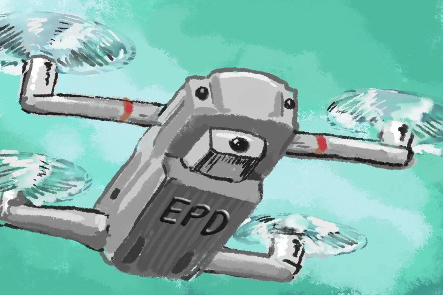 "An illustrated gray drone with ""EPD"" written on the bottom in black letters, above a green-blue background."