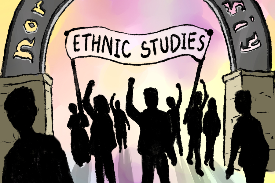 Illustration of silhouettes of student activists holding up a sign reading, Ethnic Studies.