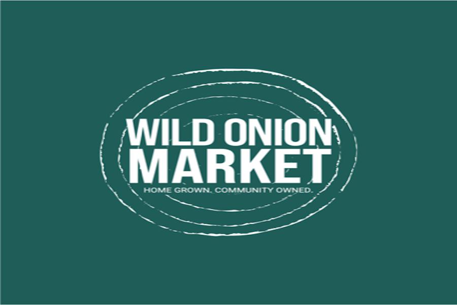 Green background white text logo for Wild Onion Market.
