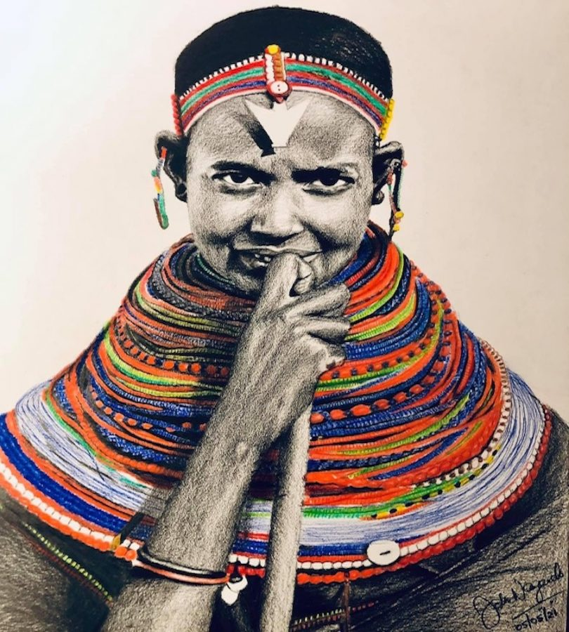"""A pencil drawing by John Wangendo entitled """"Maasai Girl in Traditional Beadwork."""" Wangendo is one of the many artists featured in Evanston Made's upcoming Annual Members Group Show."""