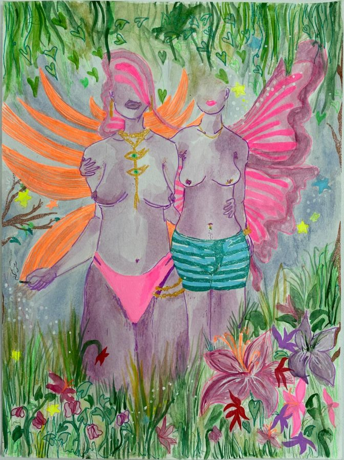 Two topless winged figures face forward. They are surrounded by flowers.