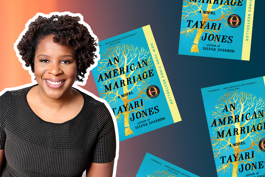 """Tayari Jones, wearing a black top, is on the left, and multiple copies of her book, """"An American Marriage,"""" are featured on the right. The background is an ombre from orange to blue from left to right."""