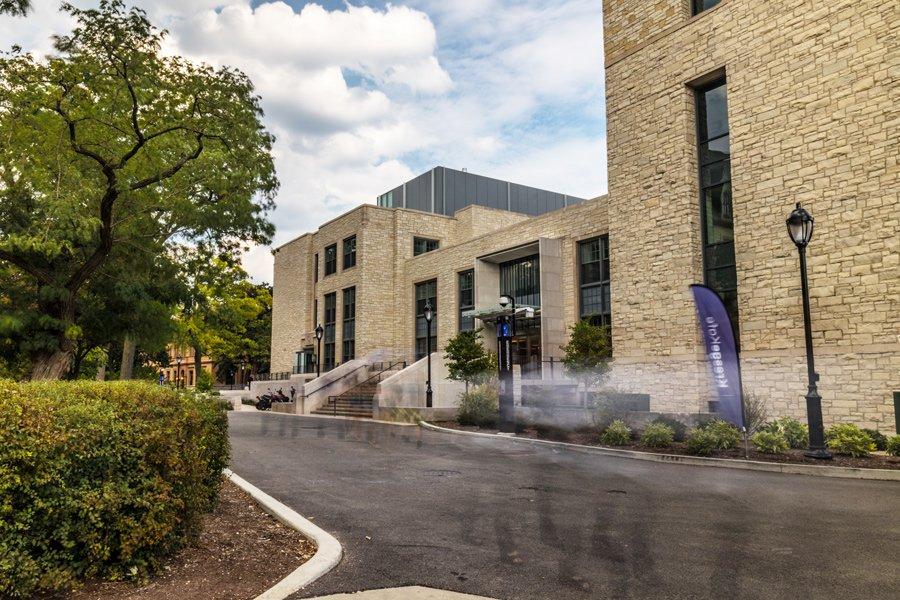 Photo of Kresge Hall on Northwestern's campus in Evanston.