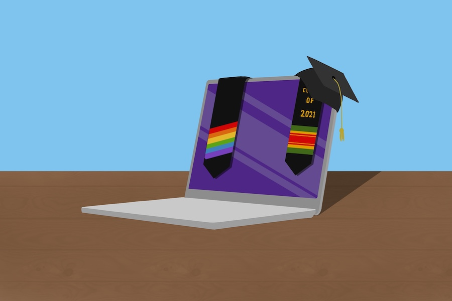 A silver laptop with a purple screen on a brown surface. Draped over the laptop are stoles, the left stole with rainbow stripes and the right stole with green, yellow and red stripes. Perched at the right corner is a graduation cap and the background is blue.