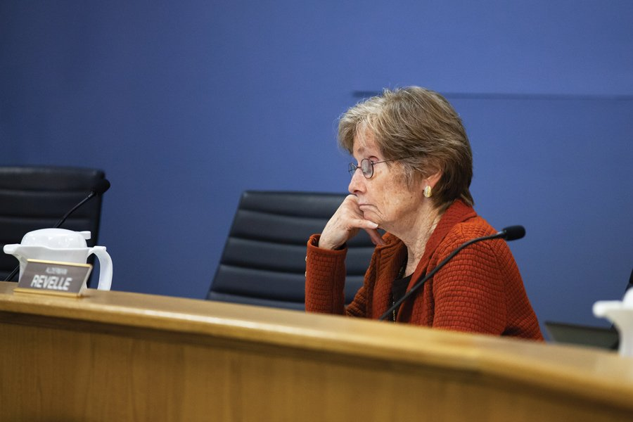 Ald. Eleanor Revelle (7th) stares into the middle distance during a City Council meeting in February 2020