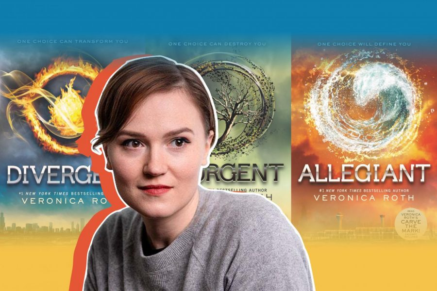"""Author and alumna Veronica Roth pictured in the center of the image. Behind her are three out of the four books in the """"Divergent"""" series. Pictured are """"Divergent,"""" """"Insurgent"""" and """"Allegiant."""""""