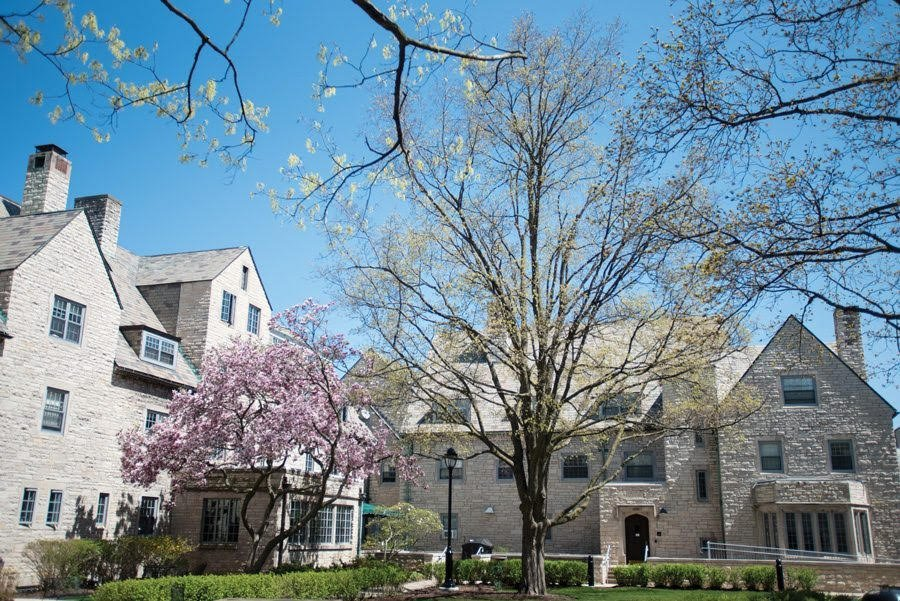 Sorority Quad. There are two light tan buildings with triangular roofs, and two trees in the foreground with pink and yellow blooms. In the background is the blue sky.