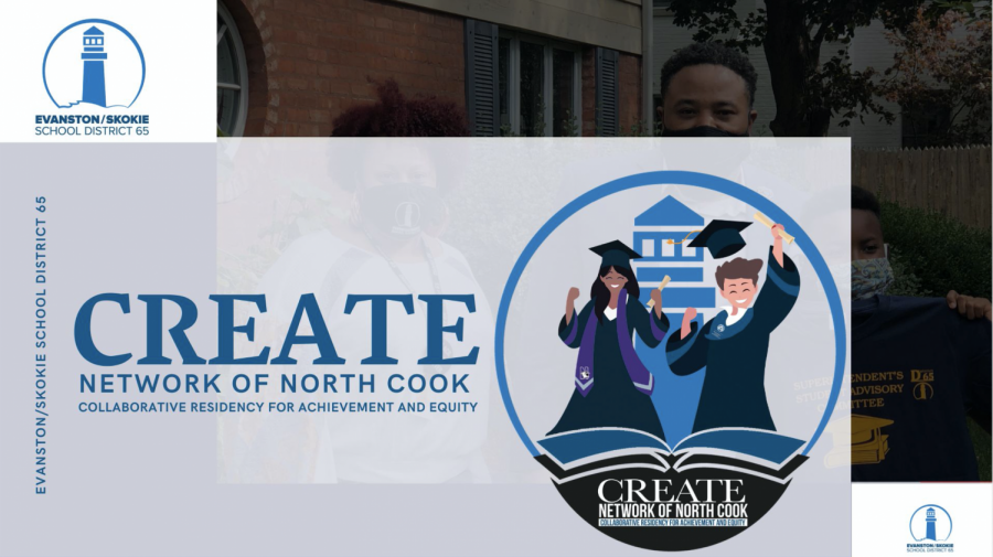 "Graphic for CREATE Teacher Residency. The Evanston/Skokie School District 65 logo appears above the words ""CREATE Network of North Cook"" and a logo with two graduating students."