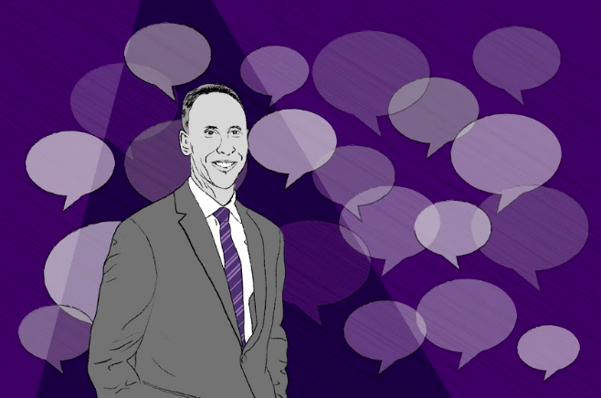 An illustration of Mike Polisky, in black and white, is situated on the left with a triangular shadow transposed on top of his figure. Surrounding him are overlapping speech bubbles. The background is dark purple.