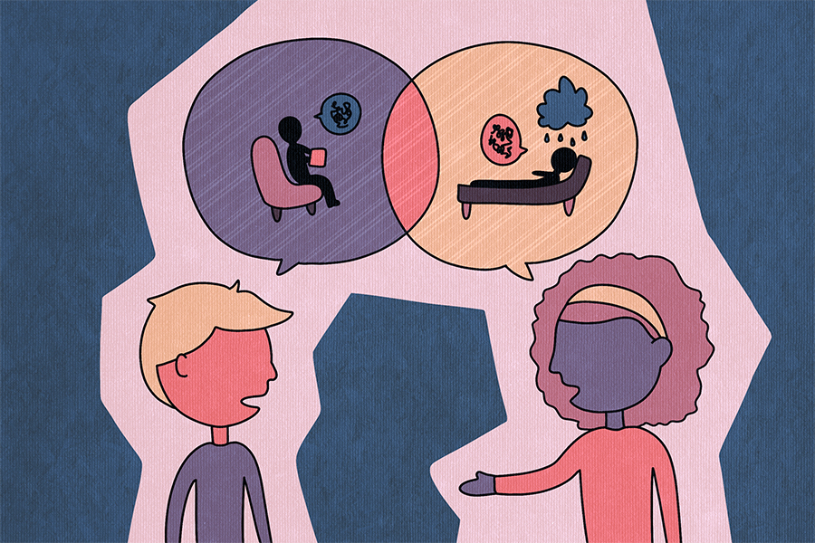 Illustration of two people talking in a pink bubble over a teal background. There are speech bubbles hovering over both of them with images of a therapist and patient.