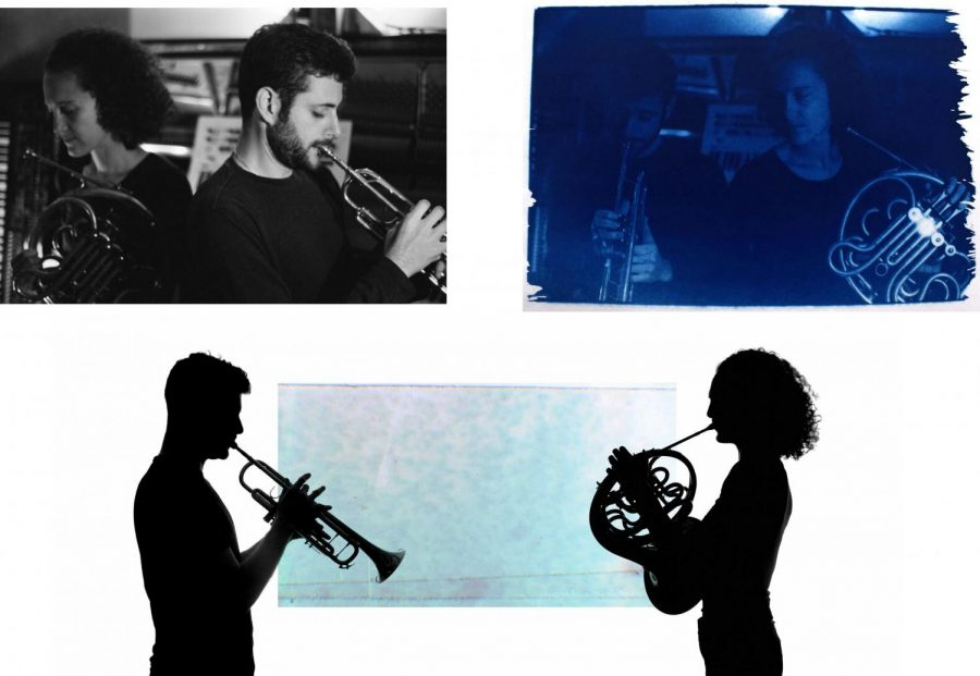 """Three images all featuring NU-originating band """"Late Aster"""" lead vocalists, Aaron Messing and Anni Hochhalter. A white background encompasses all images and all showcase the vocalists playing wind instruments."""