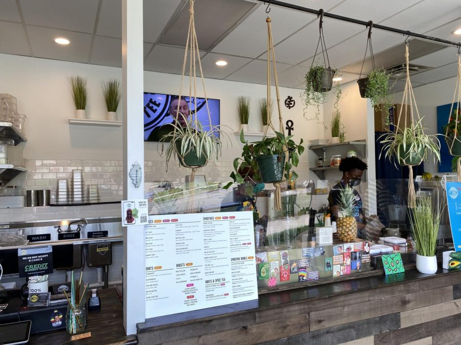 Plants hang from the ceiling over a counter with a menu poster and stickers on a glass divider.