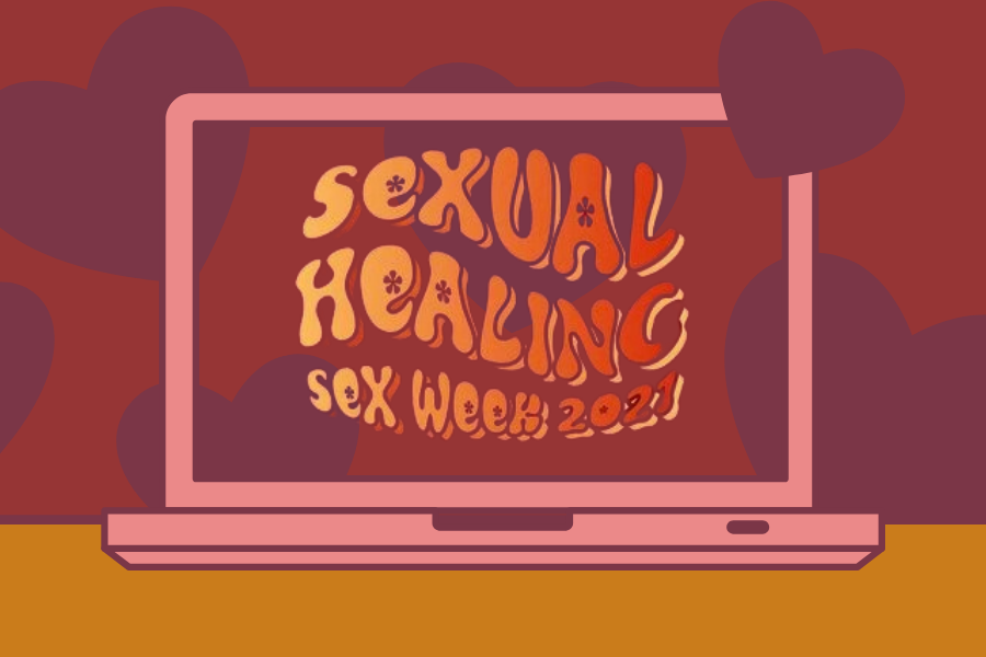 "Red background with the words ""Sexual Healing Sex Week 2021"""