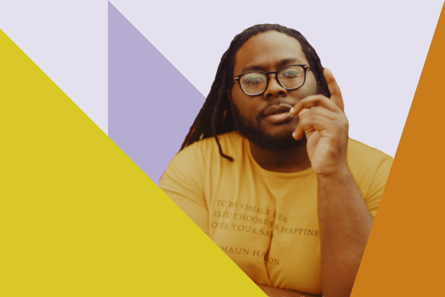 Da'Shaun Harrison in a mustard yellow t-shirt. Surrounding them are triangles in various shades of yellow. Behind them is a light purple triangle and a light purple background.