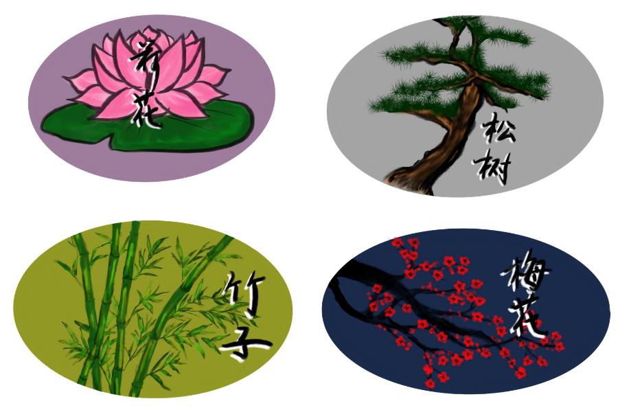 From left to right, top to bottom: Sticker designs with drawings of lotus flowers, pine tree, bamboo, plum blossoms and their corresponding Chinese characters