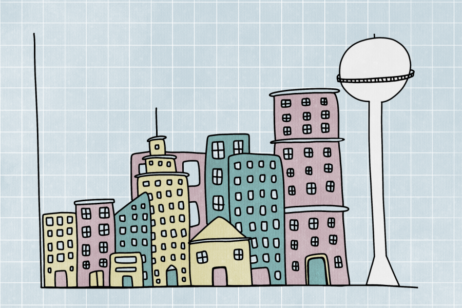 Yellow and purple buildings, alongside a water tower, on an X-Y axis plane with a blue graph paper background.