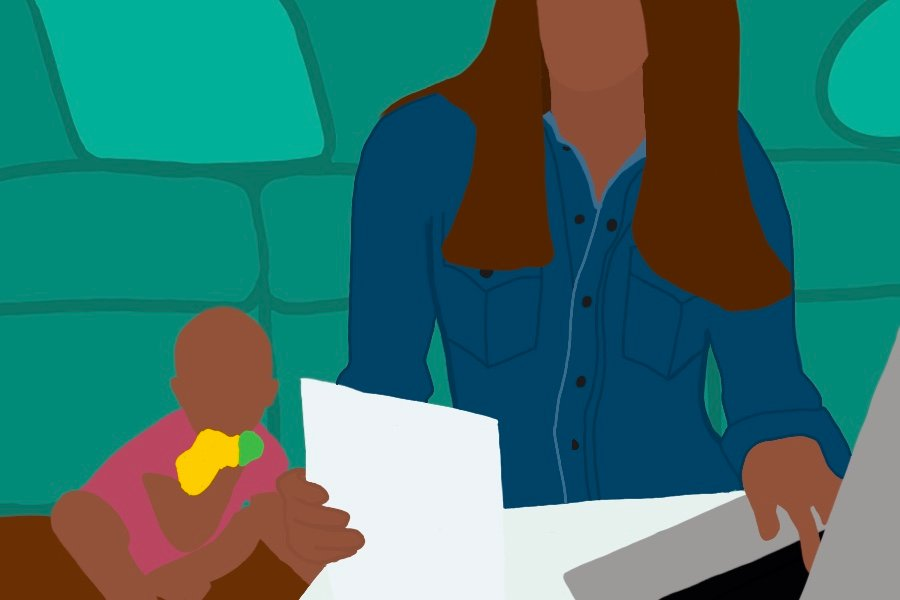 Illustration of women in a blue shirt working at a desk. There is a laptop open in front of her, and she is holding papers, while a baby sits to her left.