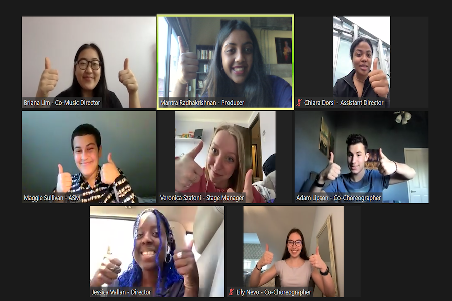 Zoom call screenshot with 8 attendants. Each participant holds two thumbs up.