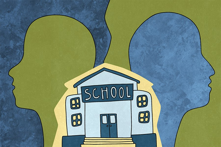 An illustration features the outlines of two figures' faces looking away from one another. A school building and a dividing line appear between them.