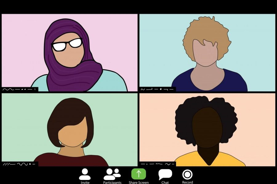 An illustration of a zoom screen with four people. The top left has a woman in a light blue shirt with a purple hijab and glasses, the top right has a man in an indigo shirt, the bottom right has a woman in a yellow shirt and the bottom left has a woman in a maroon shirt.