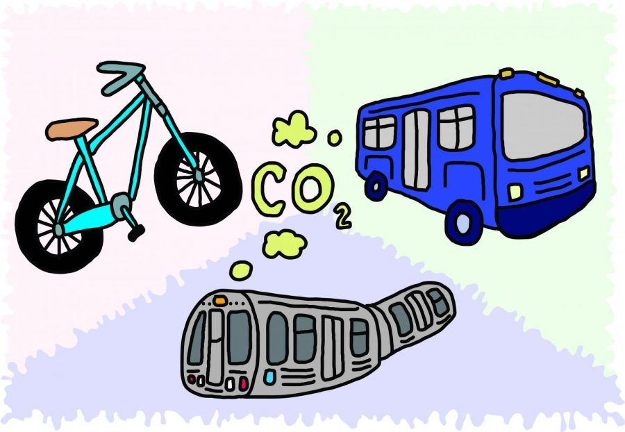 A+blue+bike%2C+a+blue+bus+and+the+CTA+train.+Coming+from+all+are+air+bubbles+with+the+label+%E2%80%9CCO2.%E2%80%9D+They+are+arranged+in+a+triangular+formation.