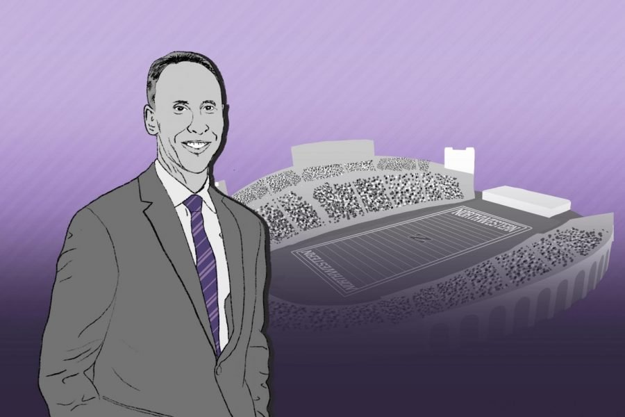 Mike Polisky stands at the left half of the illustration, in black and white except for a purple tie. Behind him is the Northwestern stadium in gray. The background is purple with darker purple stripes.