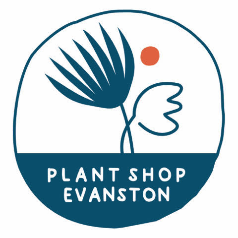 """A circle logo. The bottom says """"Plant Shop Evanston."""" Above it is two plants and an orange dot, resembling a sun."""