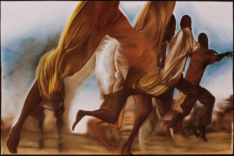A scene depicts a group of Black boys running across the canvas. The background is blue with smudges of white. The ground is golden. The boys are wearing clothing in tones of gold.
