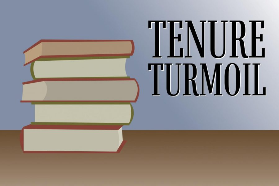 """Books stacked on top of each other on a brown desk, with text above them reading """"tenure turmoil."""""""