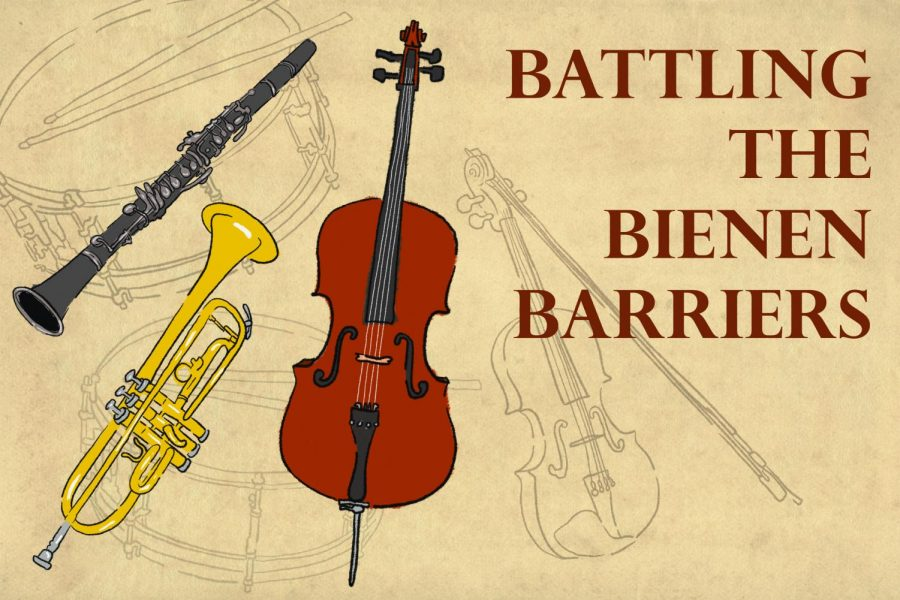 An illustration of drums, a cello, a clarinet, a trumpet and a violin with the title