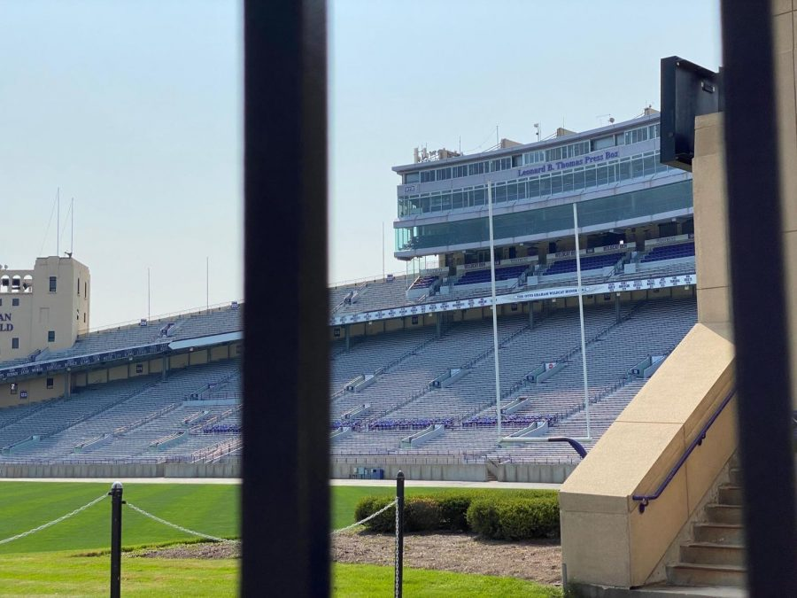 The stands at Ryan Field looming behind a green football field.