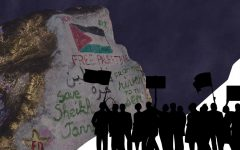 """The Rock, with gold siding and words """"Free Palestine"""" among others. The background is dark blue with silhouettes of people with signs in the bottom right corner."""