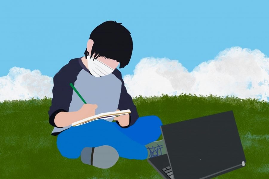An illustration of a student wearing a mask studying on grass and taking notes, with a laptop in front of him.