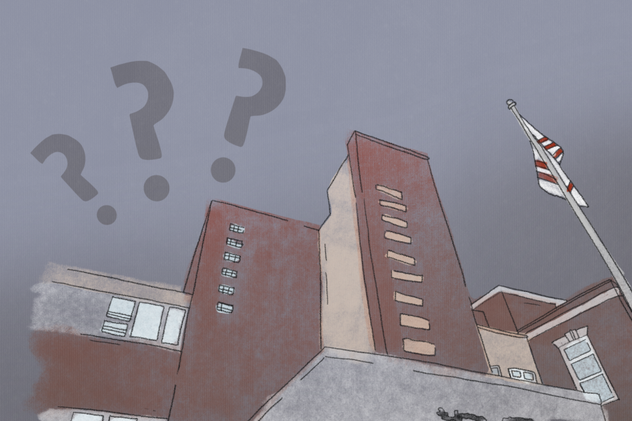 An illustration of a red-brick building with three grey question marks above it. The sky is cloudy and grey.